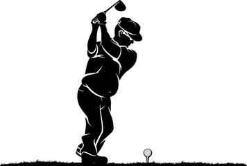 Older Duffer Golfer Black and White