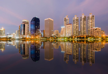 Panoramic night view of City reflect on water