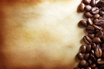 coffee beans on vintage paper background