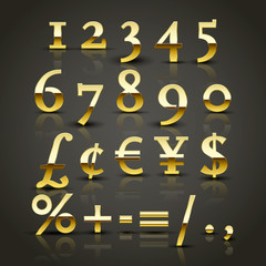 Vector set of a bold Golden numbers. Shiny gold numbers and symbols. EPS 10