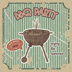 bbq party vintage poster with bbq grill on the grunge background. Retro hand drawn vector illustration in sketch style