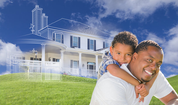 Mixed Race Father and Son with Ghosted House Drawing Behind