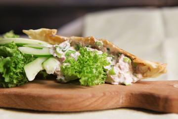 Green salad in pita bread