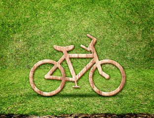 Bicycle wood icon in green grass room,Eco concept