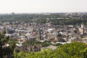 View of the ancient Lviv from a height