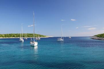 Yachts around Pakleni (Paklinski) islands, Hvar, Croatia