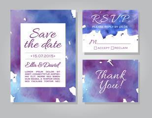 Vector wedding invitation card set with watercolor background.