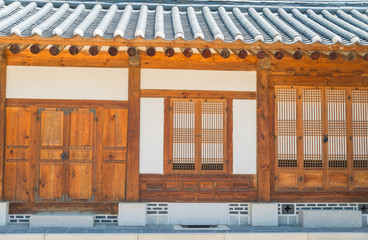 Wooden building in Korean style