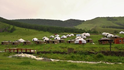 Mongolian Yurts camp near Ullanbaator in Mongolia