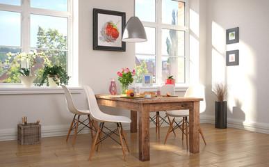 Esszimmer mit einem gedeckten Frühstückstisch