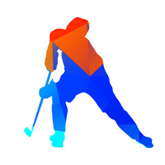 Abstract geometrical hockey player