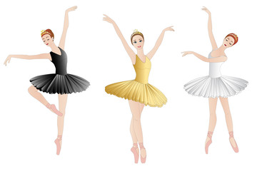 Ballerinas set, isolated on white