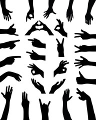 Black silhouettes of hands. vector