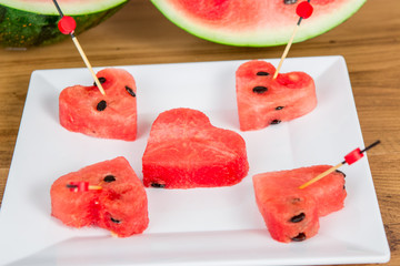 Slices of watermelon in the heart shape