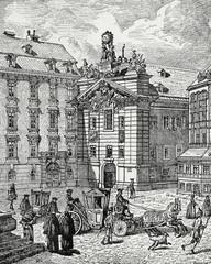 Wien, Bürgerliches Zeughaus (alte Feuerwache) um 1732, Kupferstichvorlage