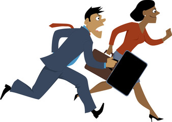 Running black businesswoman passing a Caucasian businessman, vector illustration, isolated, EPS 8