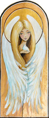 Watercolor illustration-cute angel with small bird in hand painted on a wood.