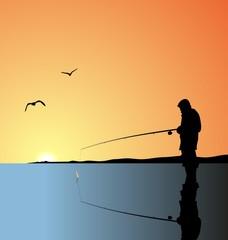Realistic illustration fishing on lake