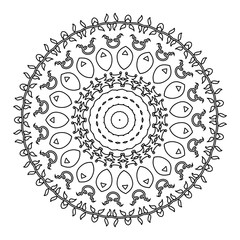 Vector Beautiful Deco Black Mandala.