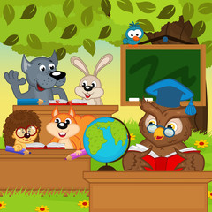 animals sit at school desks in forest - vector illustration, eps