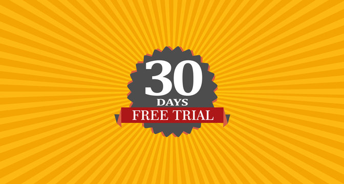 30 Days Free Trial Banner with Badge EPS