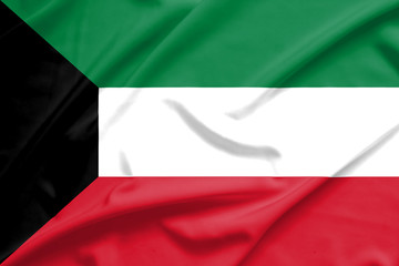 Kuwait flag on soft and smooth silk texture