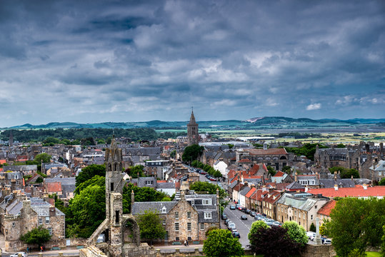 St Andrews city view from cathedral tower. Scotland