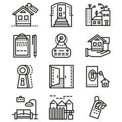 Rental of property line icons