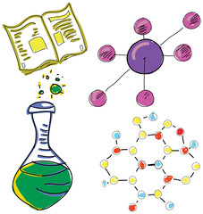 Drawn picture with chemistry stuff. Vector illustration