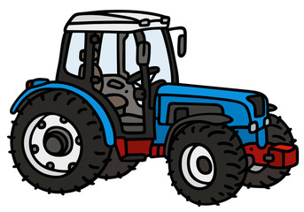 Blue tractor / hand drawing, not a real type