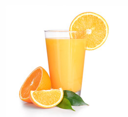 Wall Mural - Glass of orange juice isolated on white