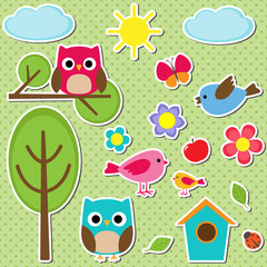 Cute vector set of different summer stickers