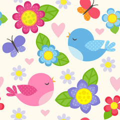 Seamless vector pattern with blue and pink birds and flowers