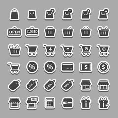 Simple shopping sticker icon set vector
