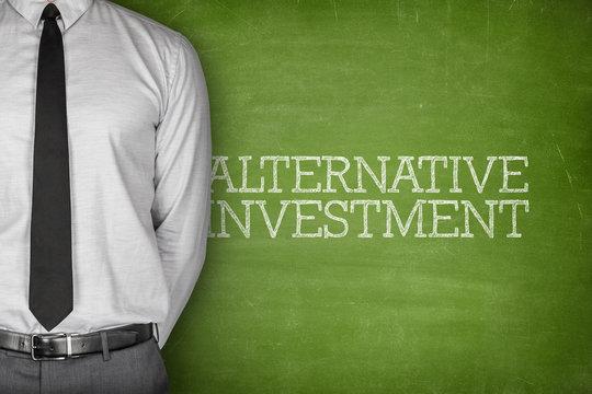 Alternative investment text on blackboard