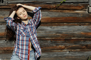 brunette in a rustic style
