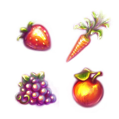 Set of fruits and vegetables. Strawberry, carrot,  grapes, apple