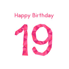 pink polygonal 19th happy birthday