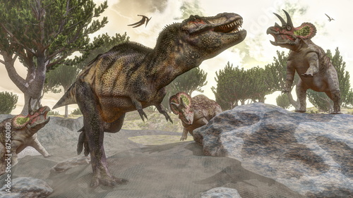 Tyrannosaurus rex escaping from triceratops attack - 3D render