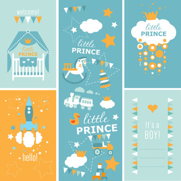 Hello, Little Prince Baby shower vector set. Four designs of greeting cards and pattern.