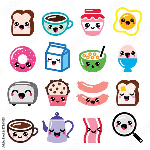 "foto de ""Kawaii breakfast food and beverages cute vector icons"