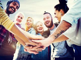 Friendship Join Hands Celebration Summer Beach Concept