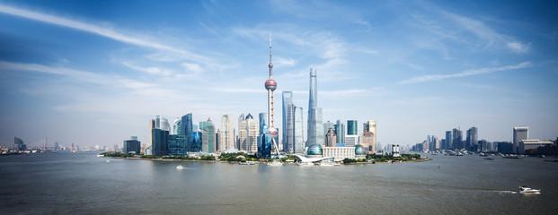 panoramic skyline of shanghai and landmarks