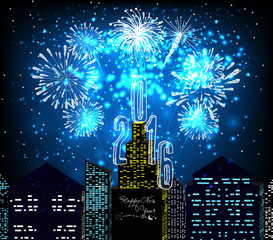 happy new year 2016 with firework city at night