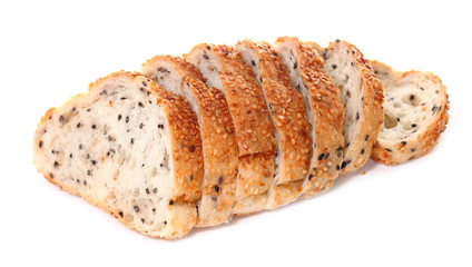 Bread with sesame on white background