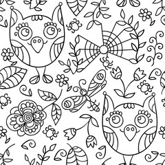 Cute vector owl seamless pattern. Forest print.