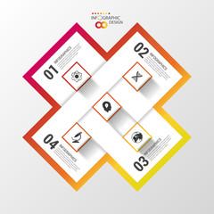 Modern infinite square origami style options banner. Vector illustration