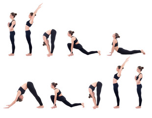 beautiful slim woman in yoga sun salutation sequence poses isola