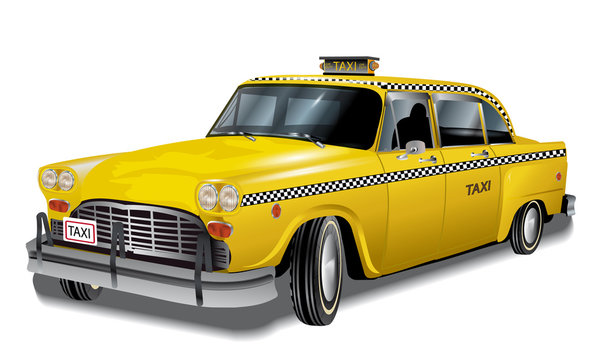 Yellow cab, new york retro taxi, eps10