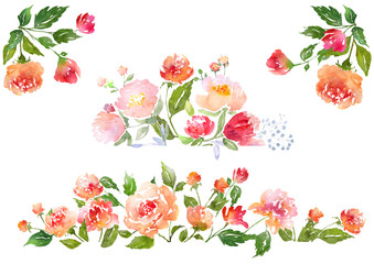 Set of Watercolor floral composition